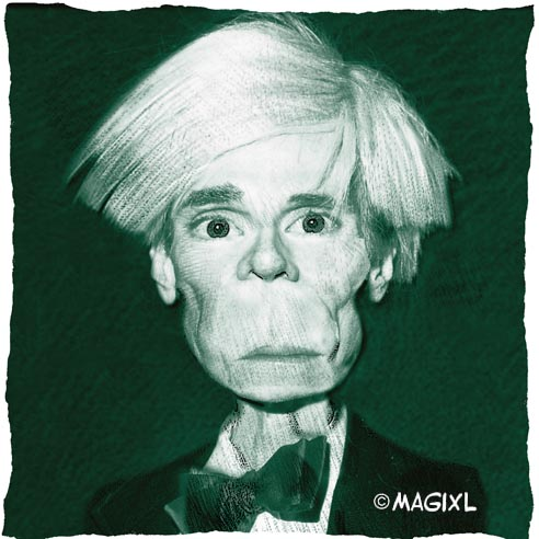 caricature Andy Warhol